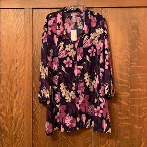 Catherine's purple floral blouse size 5X NWT